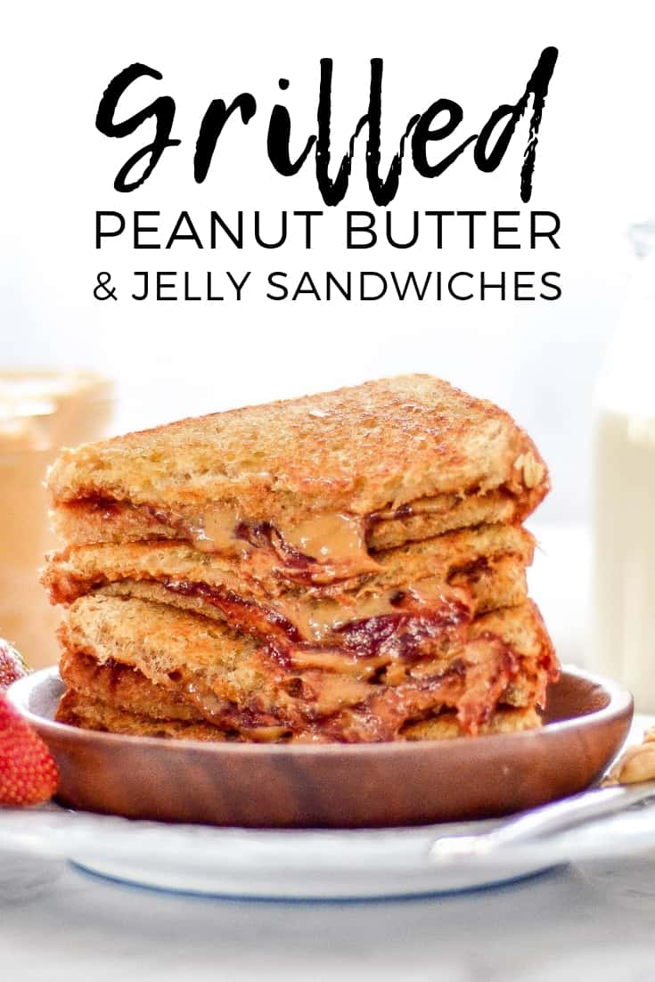 This Grilled Peanut Butter and Jelly Sandwich Recipe takes PB & J to the next level in the best way possible! It's made with 3 ingredients in 5 minutes and makes lunchtime extra special! #peanutbutterandjelly #PB&J #sandwich #recipe #peanutbutter #jelly #healthy