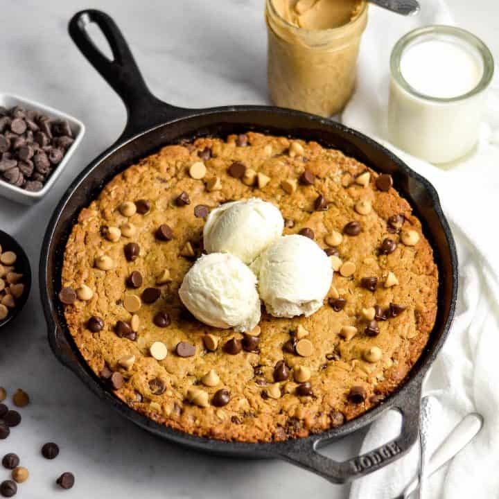 Healthy Skillet Peanut Butter Cookie with three scoops of ice cream on top
