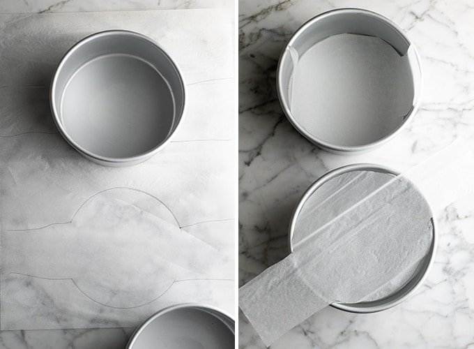 Two photos showing how to line and grease cake pans!