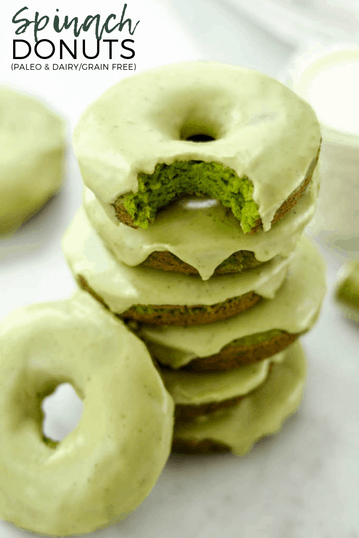 Baked Paleo Spinach Donuts with Matcha Glaze are a healthy breakfast full of sneaky veggies! No food coloring needed to make these donuts naturally green! #paleo #donuts #baked #glutenfree #grainfree #dairyfree #naturallygreen #matcha #spinach #breakfast
