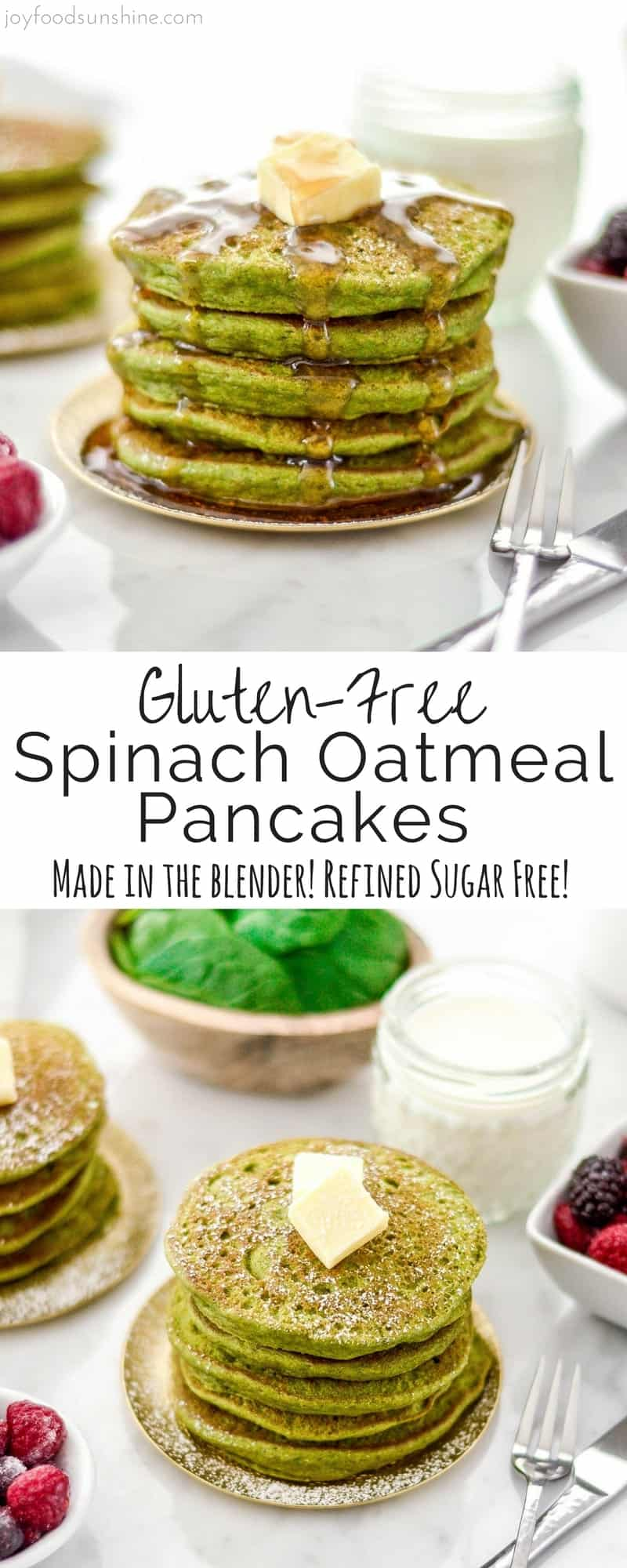 These Gluten-Free Spinach Oatmeal Pancakes are a fun, healthy breakfast recipe full of nutritious ingredients like spinach, oatmeal and Greek yogurt that your kids will love! They are made in the blender and are refined sugar free!