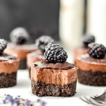 Mini No-Bake Vegan Chocolate Cheesecakes