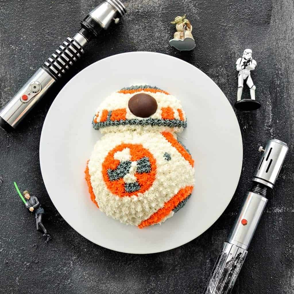 BB8 Star Wars Birthday Cake! So easy to make! Decorated with only buttercream frosting!