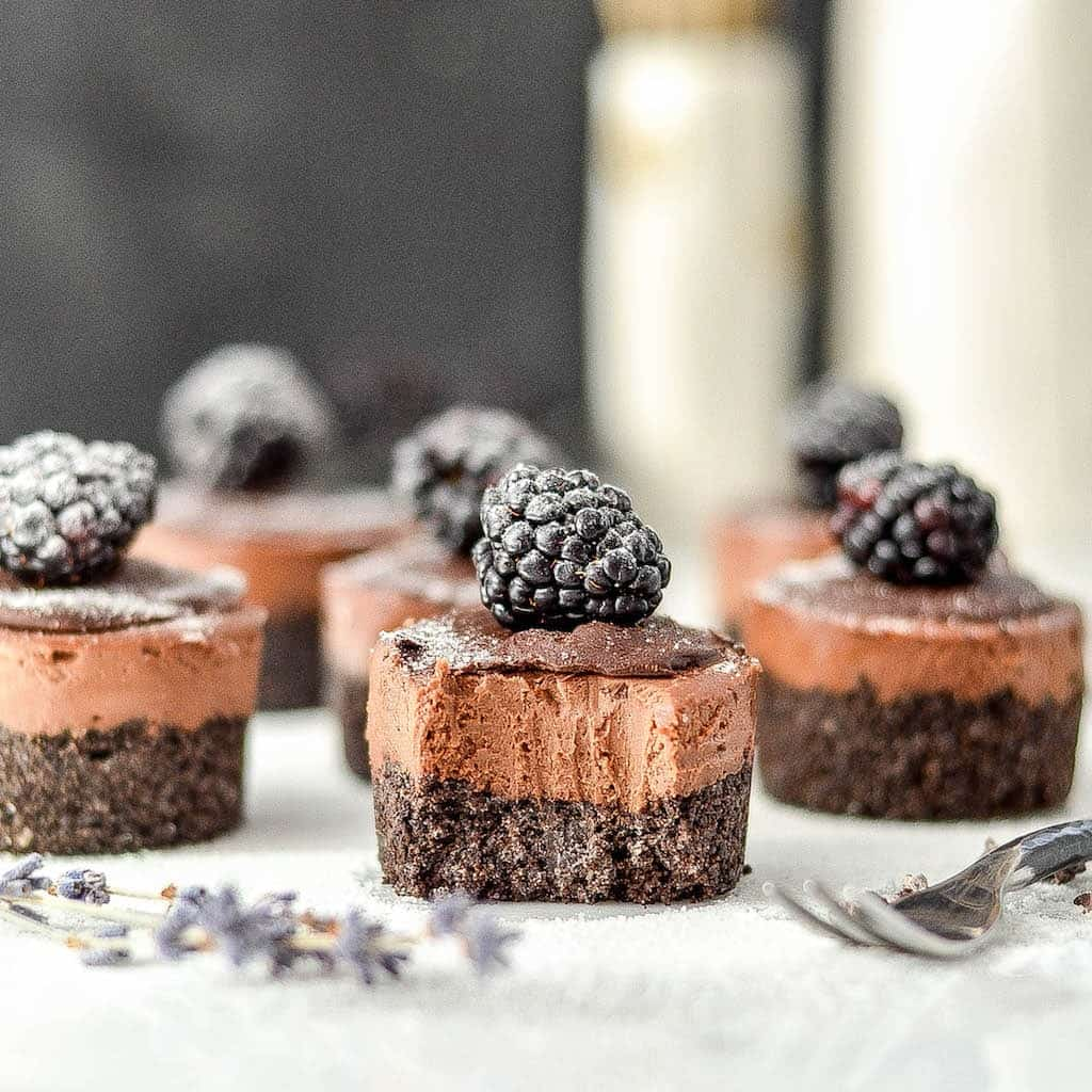 Mini No-Bake Vegan Chocolate Cheesecakes are a simple, elegant dessert! Vegan & dairy-free with a paleo & gluten-free option!