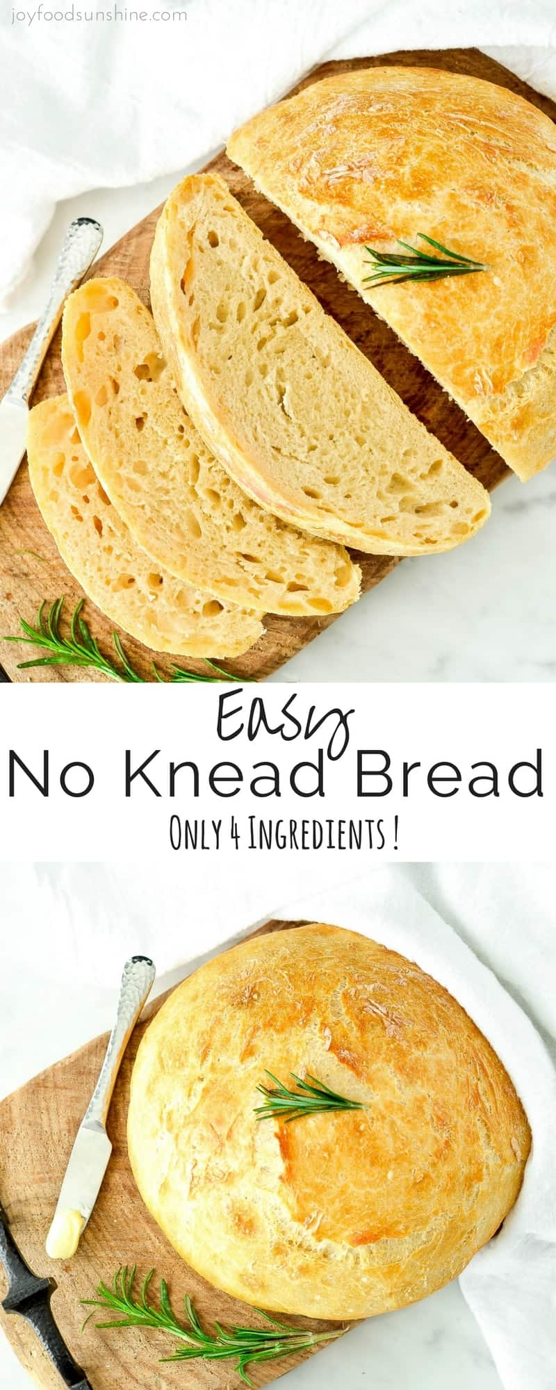 This Easy No Knead Bread is made with only 4 ingredients and takes 5 minutes of prep time! Wow your guests with this delicious homemade bread!