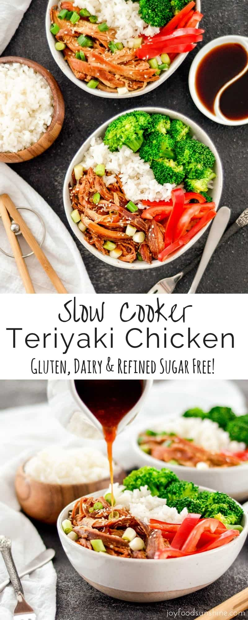 This Slow Cooker Teriyaki Chicken is an easy recipe perfect for busy weeknights! Serve with stir-fried veggies and you have a delicious and healthy dinner! Gluten-free, dairy-free and refined sugar free!