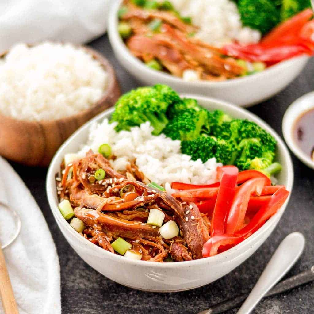 Front view of a bowl with Slow Cooker Teriyaki Chicken, rice, and vegetables