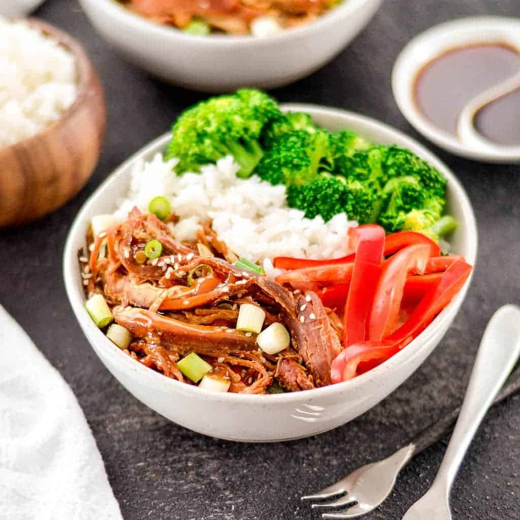 Overhead front view of Slow Cooker Teriyaki Chicken with rice and vegetables