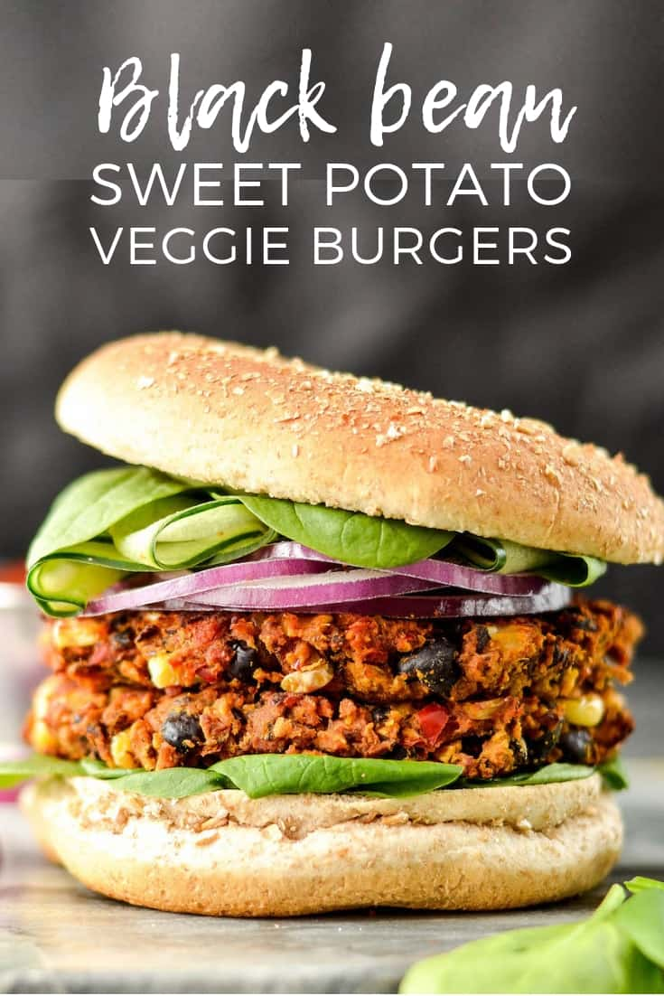 Baked Black Bean & Sweet Potato Veggie Burgers are vegan, gluten-free and freezer-friendly! The perfect make-ahead meatless main dish! #veggieburger #vegan #glutenfree #dairyfree #baked #maindish