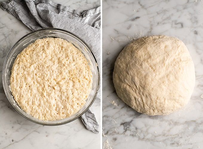 two overhead photos showing how to make no knead bread