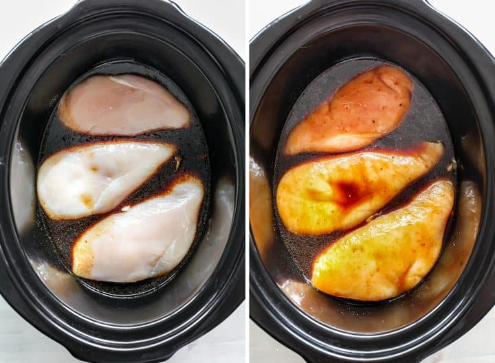 two photos showing how to make teriyaki chicken