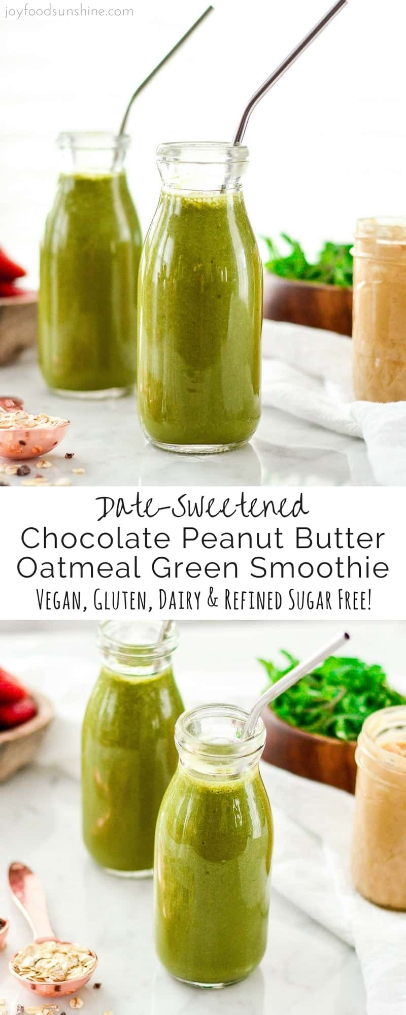 This Chocolate Peanut Butter Green Smoothie has no added sugar or protein powders! It's an entire breakfast in a glass! Vegan, gluten free and dairy free! #greensmoothie #breakfast #recipe #vitamix #chocolate #peanutbutter