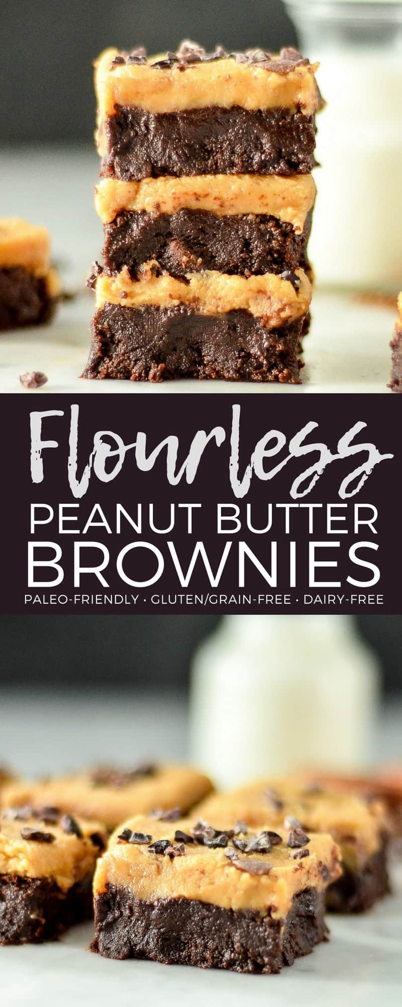 These Flourless Peanut Butter Brownies are made with only 9 ingredients that you probably already have in your pantry! They're ultra fudgy, super gooey and irresistibly chocolatey! Plus they're gluten-free, dairy-free and refined sugar free! The perfect healthier dessert for chocolate peanut butter lovers! #brownies #peanutbutter #flourless #glutenfree #grainfree #healthydessert