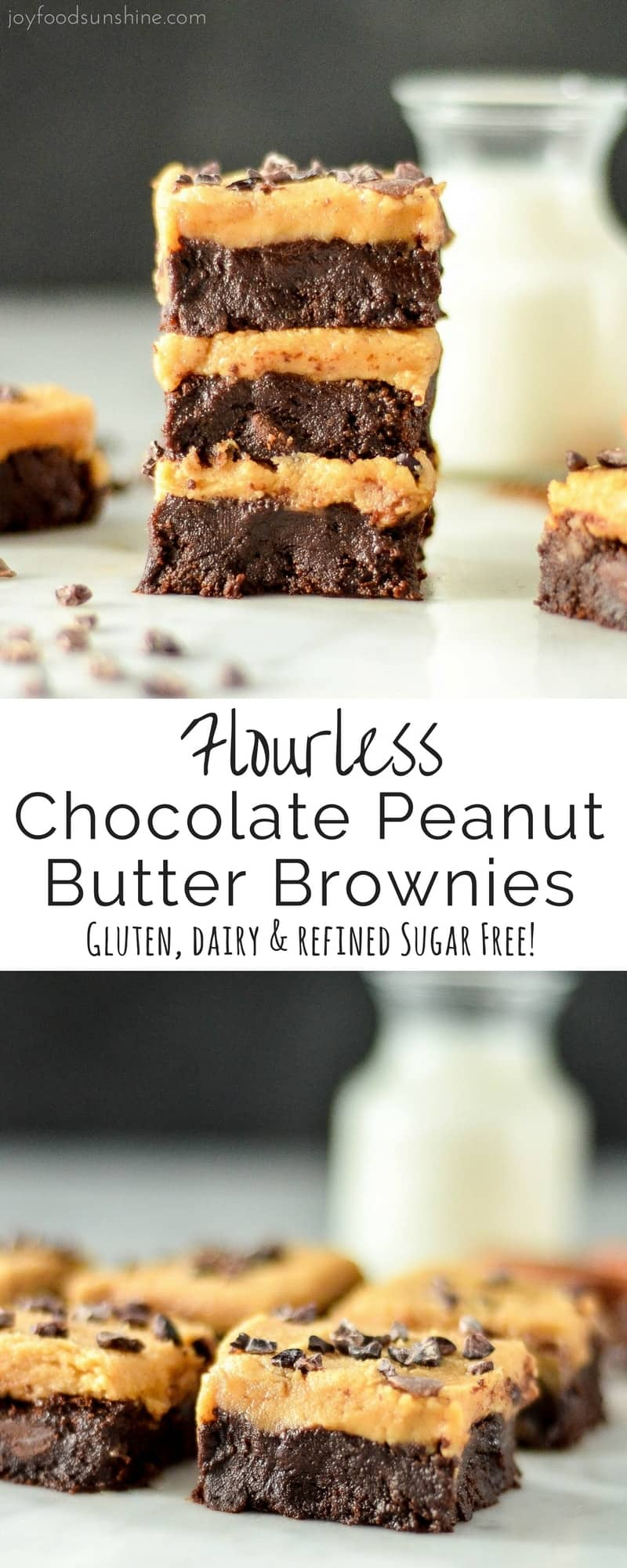 These Flourless Chocolate Peanut Butter Brownies are made with only 9 ingredients that you probably already have in your pantry! They're ultra fudgy, super gooey and irresistibly chocolatey! Plus they're gluten-free, dairy-free and refined sugar free! The perfect healthier dessert for chocolate peanut butter lovers!