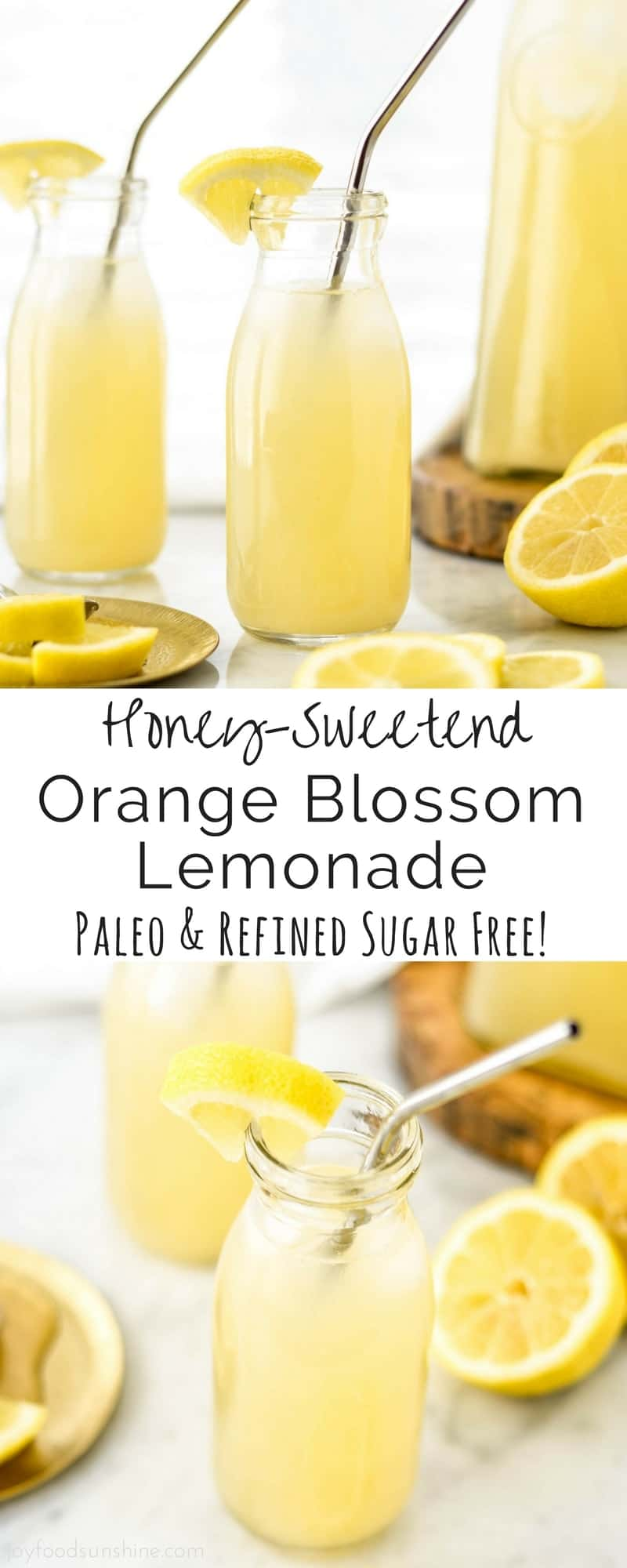This Honey-Sweetened Orange Blossom Lemonade is made with 4 ingredients and comes together in 5 minutes! Paleo & Vegan-Friendly!