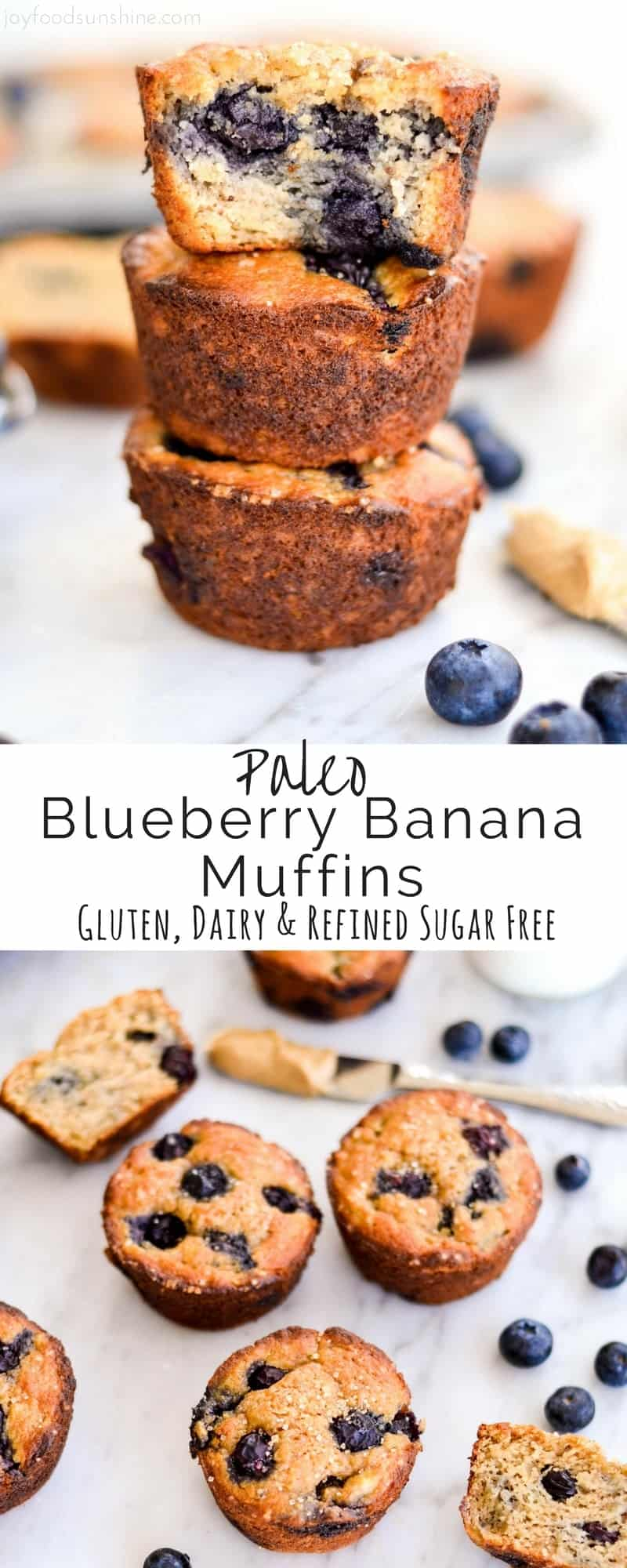 Paleo Blueberry Banana Muffins taste just like a bakery muffin but are healthy! Paleo, gluten-free, dairy-free & refined sugar free! Plus they're freezer-friendly, so they're a perfect make-ahed breakfast!