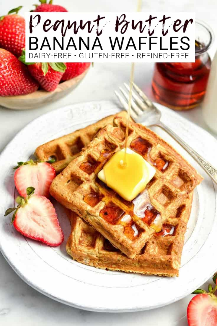These Blender Peanut Butter Banana Oatmeal Waffles are a delicious healthy breakfast recipe! They are gluten-free, dairy-free, refined sugar free and have no butter or oil!  #glutenfree #waffles #peanutbutter #banana #breakfast #recipe