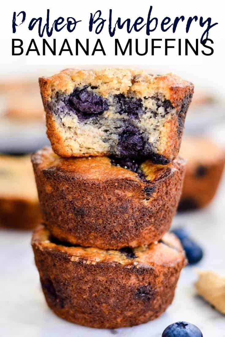 Paleo Blueberry Banana Muffins taste just like a bakery muffin but are healthy! Paleo, gluten-free, dairy-free & refined sugar free! Plus they're freezer-friendly, so they're a great make-ahead breakfast! #paleo #blueberry #muffin #glutenfree #grainfree #dairyfree #breakfast #blueberrymuffin #recipe #healthyrecipe