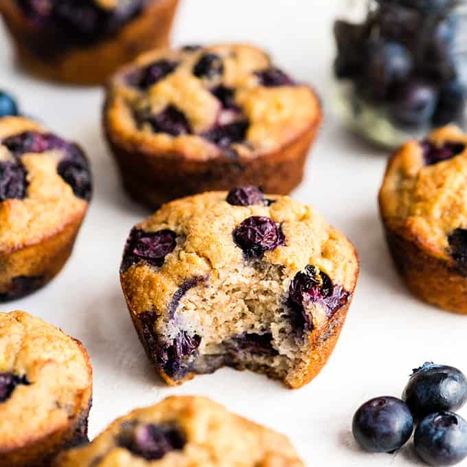 Front view of a paleo blueberry muffin with a bite taken out of it surrounded by other gluten-free blueberry muffins and blueberries