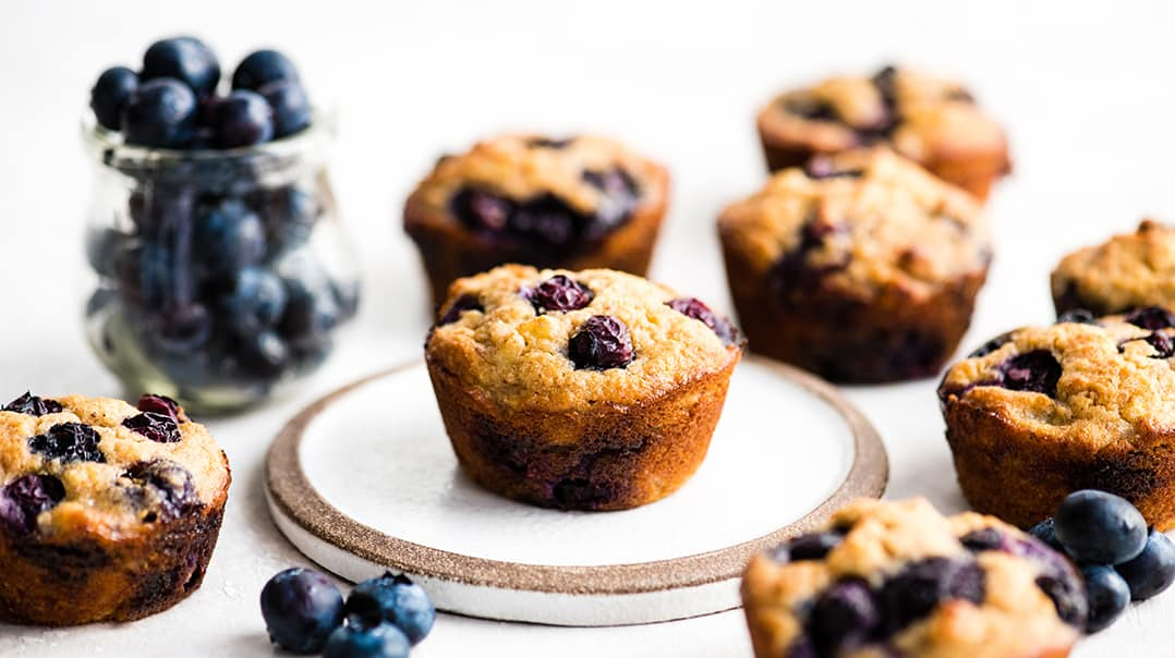 Front view of a paleo blueberry muffin on a plate, surrounded by seven other gluten-free blueberry muffins and a glass jar of blueberries