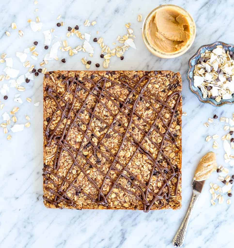 overhead view of Homemade Peanut Butter Granola Bars recipe in a large square before being cut