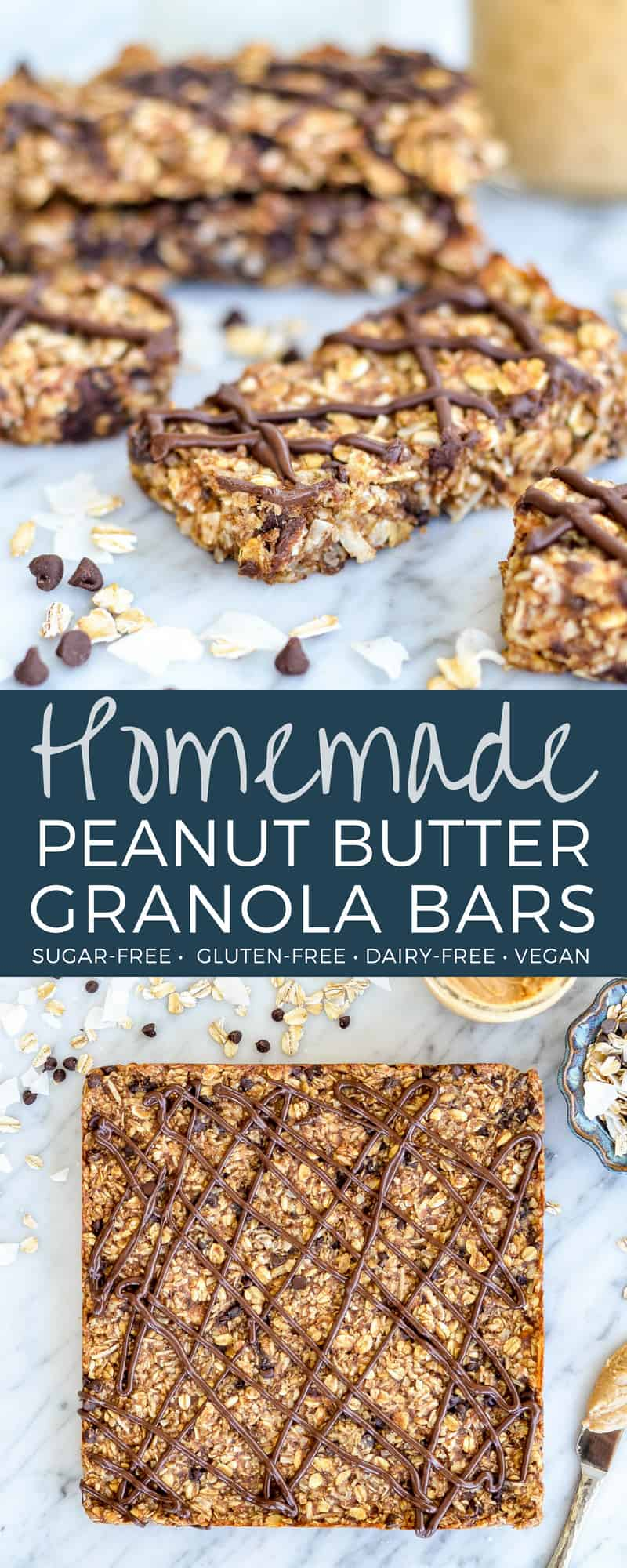 This Homemade Peanut Butter Granola Bars Recipe is a healthy homemade snack for busy moms! They are oil-free and sugar-free because they are sweetened with dates! Plus they are gluten-free, dairy-free, vegan and full of protein and fiber! #homemade #granolabar #recipe #peanutbutter #healthy