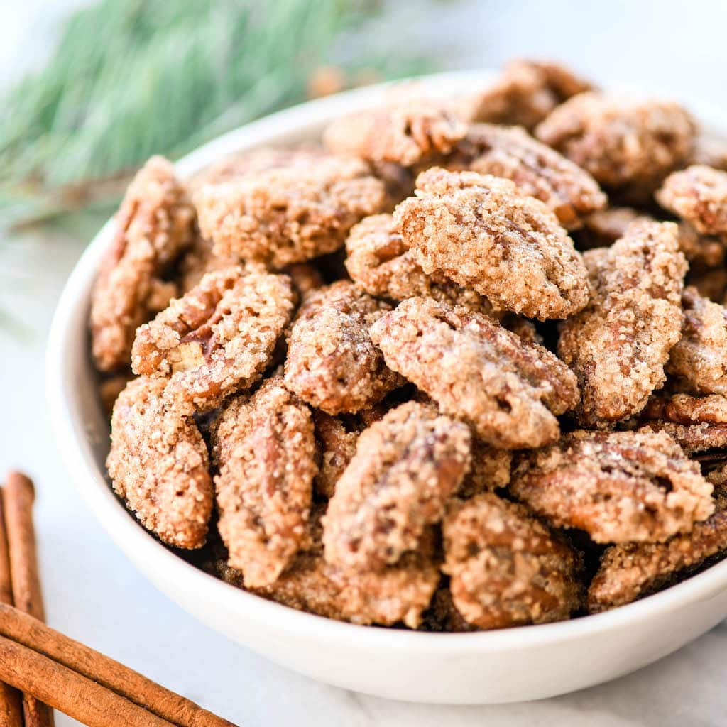 front view of a bowl of homemade Cinnamon Sugar Pecans