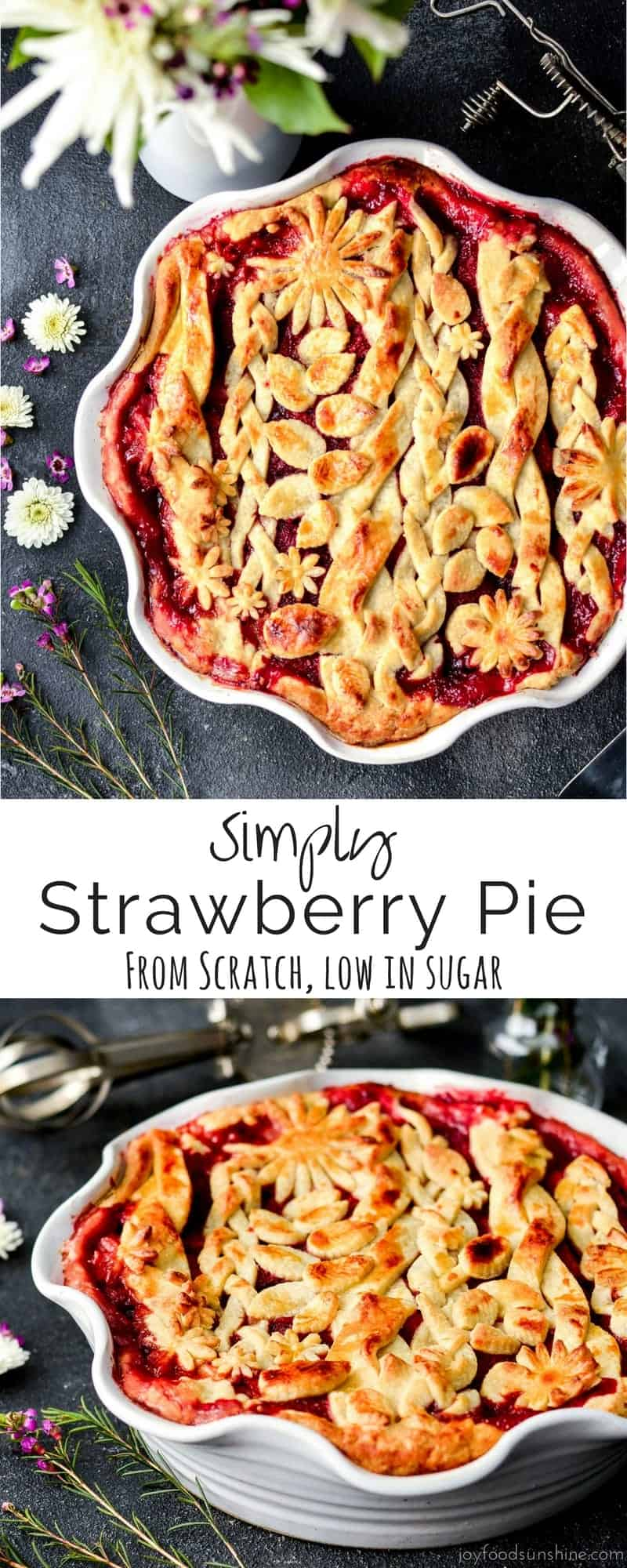Simply Strawberry Pie! A fresh, made-from-scratch strawberry pie that is low in sugar! The natural flavor and sweetness of the strawberries really shine in this delicious dessert!