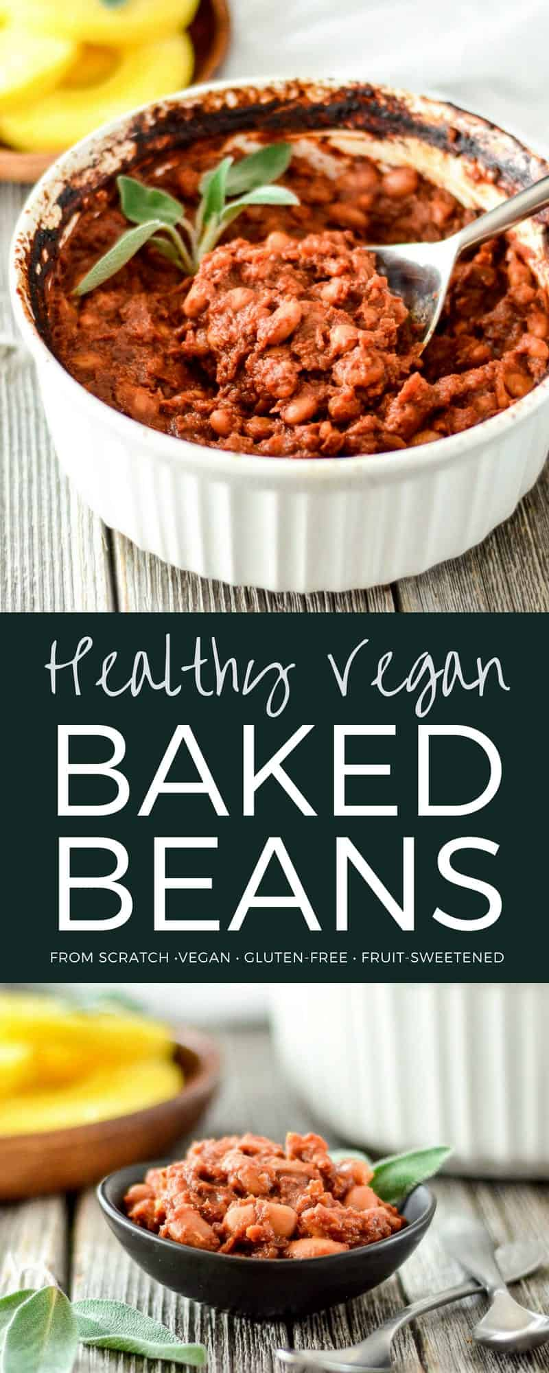 These Healthy Vegan Baked Beans with Pineapple are the perfect side dish for your summer BBQ. They are gluten-free and refined sugar free! Kid friendly and husband approved! #vegan #bakedbeans #healthyrecipe #bbq #side dish