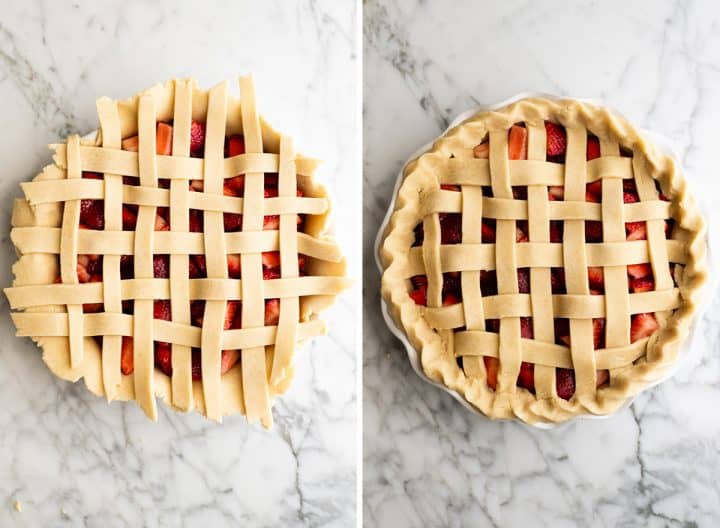two overhead photos showing how to make strawberry pie