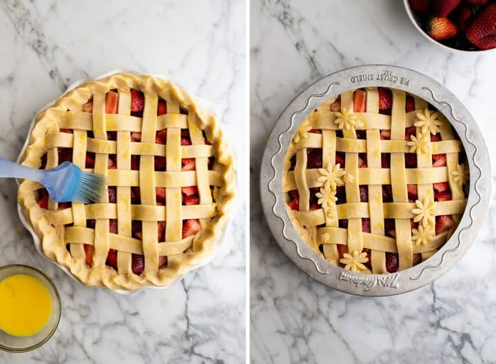 two overhead photos showing how to make a strawberry pie