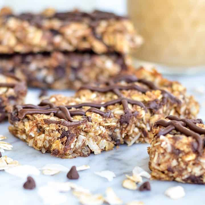 front view of a Homemade Peanut Butter Granola Bar recipe with others around it