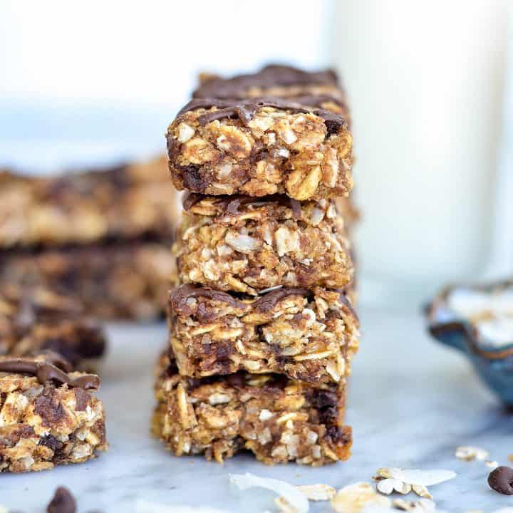 front view of a stack of four Homemade Peanut Butter Granola Bars recipe