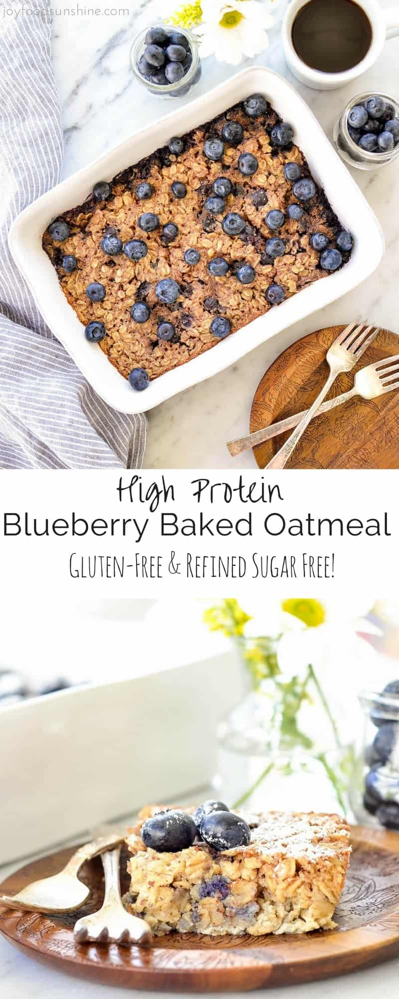 This Blueberry Baked Oatmeal recipe is the perfect make-ahead breakfast to feed a crowd! The addition of Greek yogurt and almond meal make it high-protein! It's gluten-free and refined sugar free, and totally customizable!