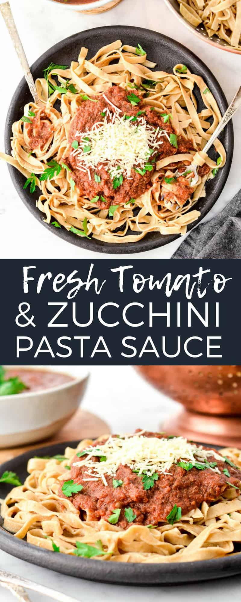 Fresh Tomato & Zucchini Pasta Sauce made in the blender! A versatile marinara sauce that is loaded with sneaky veggies! Vegan, paleo, gluten-free and dairy-free! #homemadepastasauce #zucchini #zucchinipastasauce #blenderpastasauce #recipe