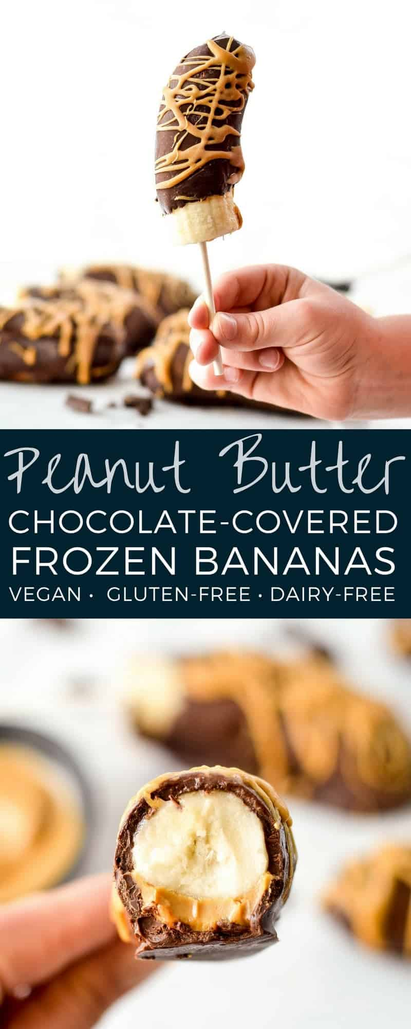 Frozen Chocolate Covered Bananas with Peanut Butter are an easy, 3 ingredient dessert! They are a perfect healthy treat for a hot summer day! Vegan, gluten-free and dairy-free! #frozen #chocolatecovered #bananas #healthy #recipe #glutenfree #dairyfree #vegan #peanutbutter #chocolate #dessert