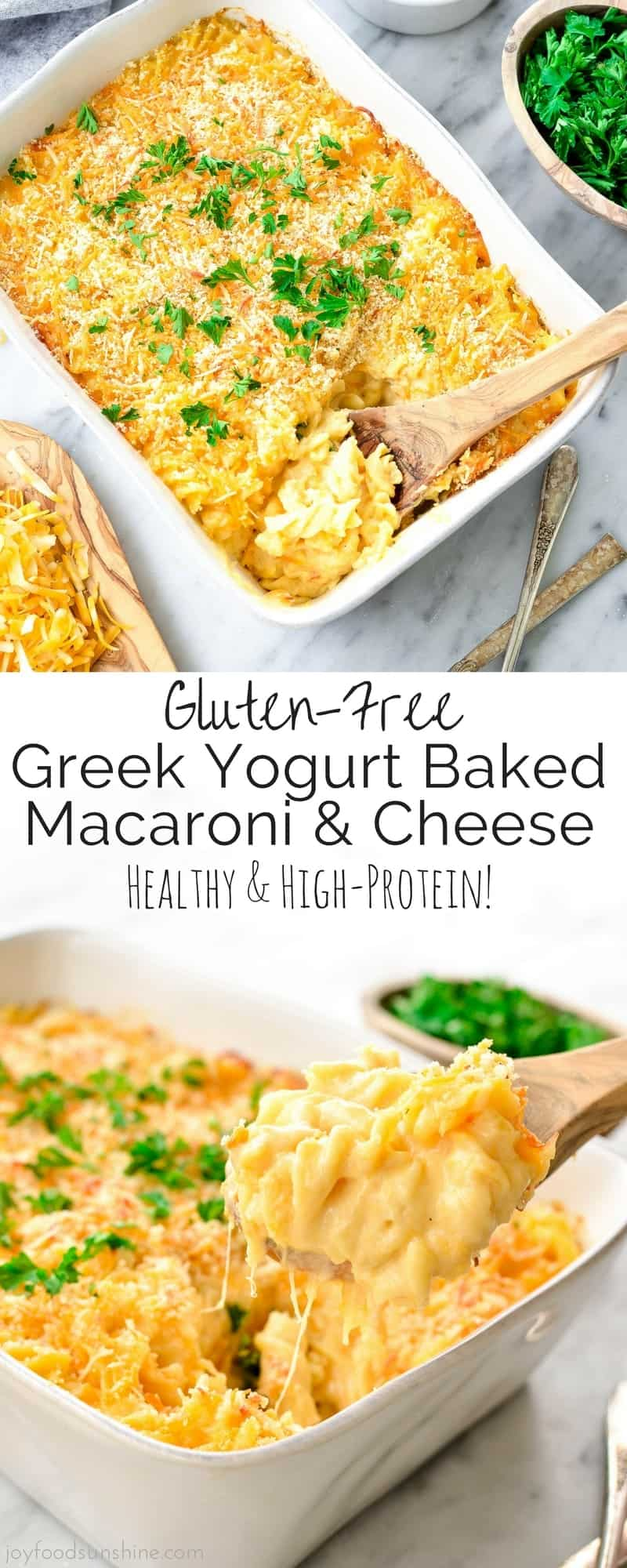 Gluten-Free Baked Greek Yogurt Macaroni & Cheese is an easy, healthier version of everyone's favorite comfort food! It's gluten-free and protein-packed and a great make-ahead dish to feed a crowd!