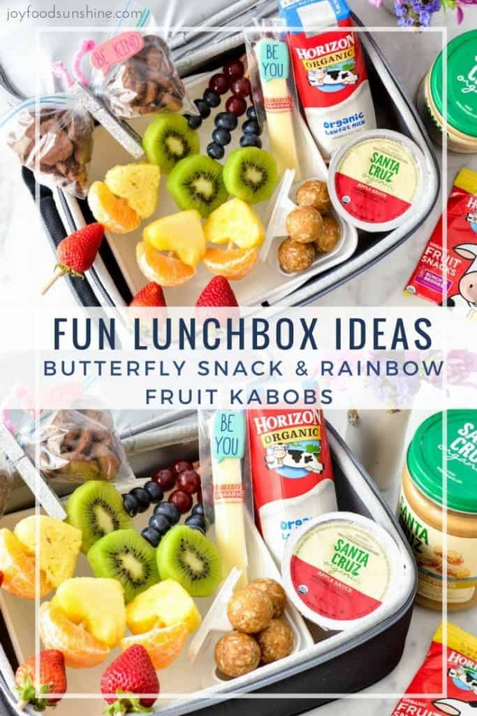 Need some fun lunch inspiration? These rainbow fruit kabobs and butterfly snacks are the perfect way to make your kids look forward to opening their lunchbox every day! Plus a recipe for Peanut Butter Oatmeal & Coconut Energy Bites that's a perfect lunchbox snack! Cute kid and toddler snacks!