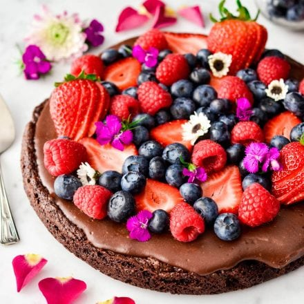 Paleo Chocolate Fruit Pizza with a Brownie Cookie Crust
