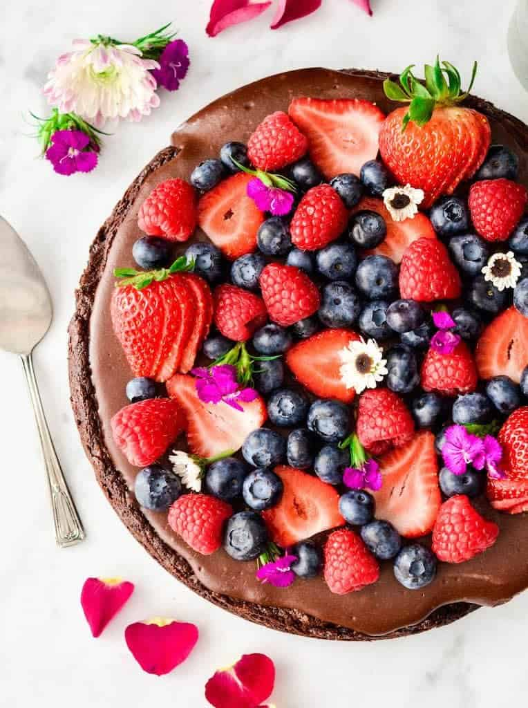 Overhead view of paleo chocolate fruit pizza