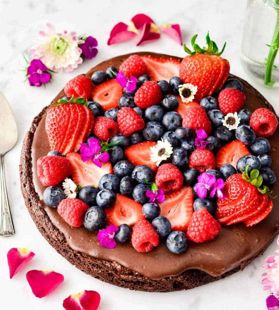 Overhead view of Paleo Chocolate Fruit Pizza with a Brownie Crust