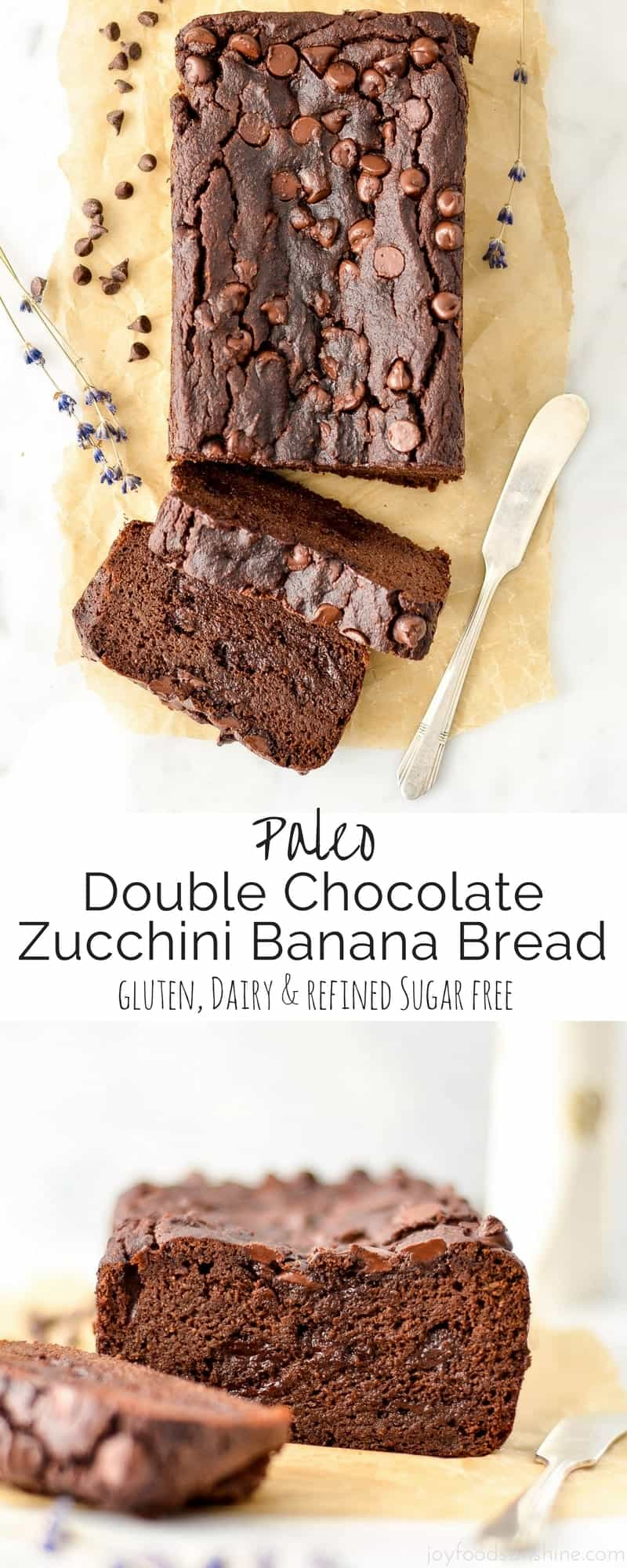 This Paleo Double Chocolate Zucchini Banana Bread Recipe is an easy, healthy & delicious way to eat your fruits and vegetables! Using a blender to whip up the batter makes the zucchini completely undetectable! Gluten-free, dairy-free and refined sugar free!