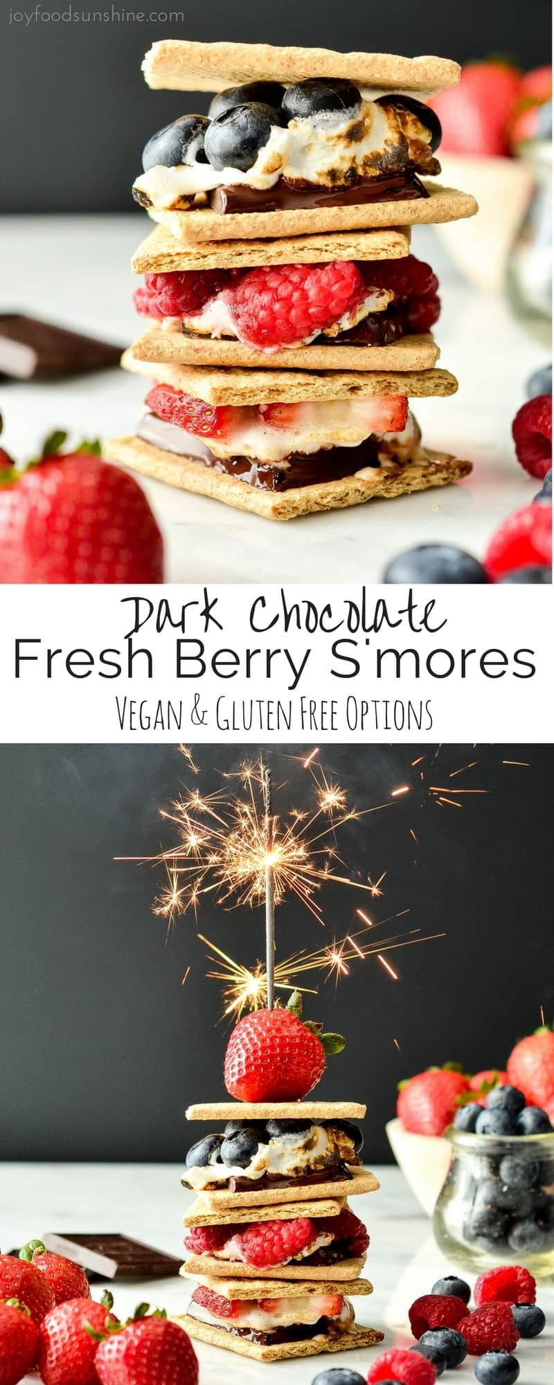 These Dark Chocolate Fresh Berry S'mores are the perfect, easy summer dessert! Great for your 4th of July celebrations and bonfires! Vegan and gluten-free options!