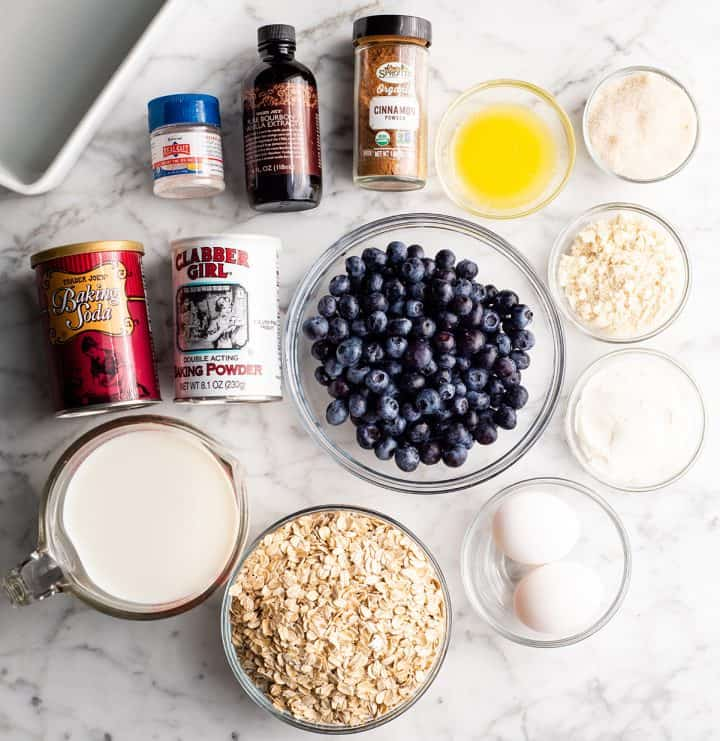 overhead photo of the ingredients in this blueberry baked oatmeal recipe