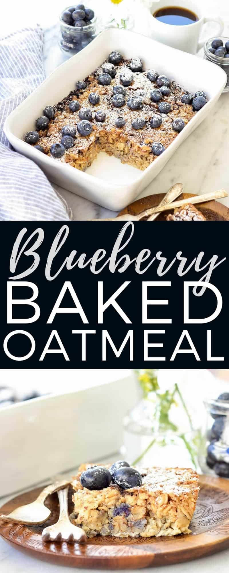 This Blueberry Baked Oatmeal recipe is the perfect make-ahead breakfast to feed a crowd! The addition of Greek yogurt and almond meal make it high-protein! It's gluten-free and refined sugar free, and totally customizable! #glutenfree #bakedoatmeal #breakfast #healthybreakfast #healthyrecipe #blueberries #greekyogurt