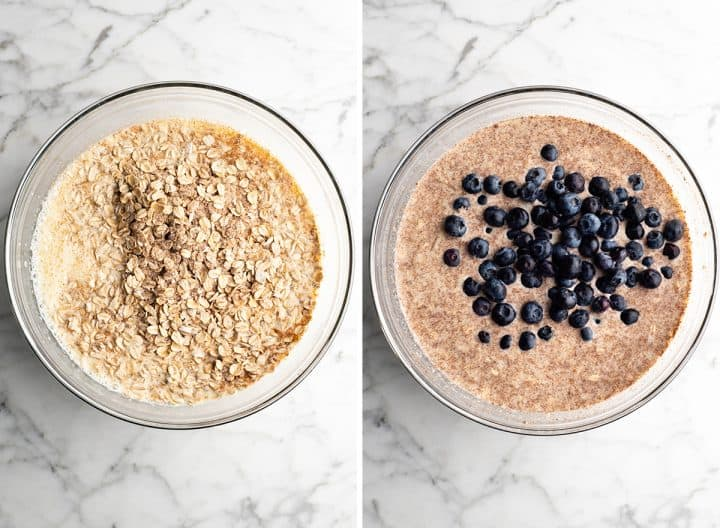 two overhead photos showing how to make blueberry baked oatmeal