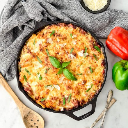 Balsamic Tortellini Bake with Sausage & Peppers