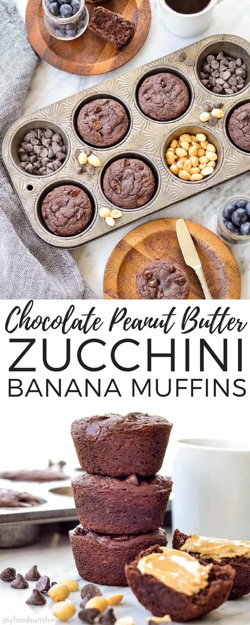 Peanut Butter Chocolate Zucchini Muffins are the perfect breakfast! This recipe is grain-free, gluten-free, dairy-free has no refined sugar and is paleo-friendly! Plus they are loaded with protein, sneaky veggies and are freezer-friendly! Make them today! #muffins #breakfast #chocolate #peanutbutter #zucchinimuffins #bananamuffins #grainfree #glutenfree #dairyfree #refinedsugarfree #zucchini #banana