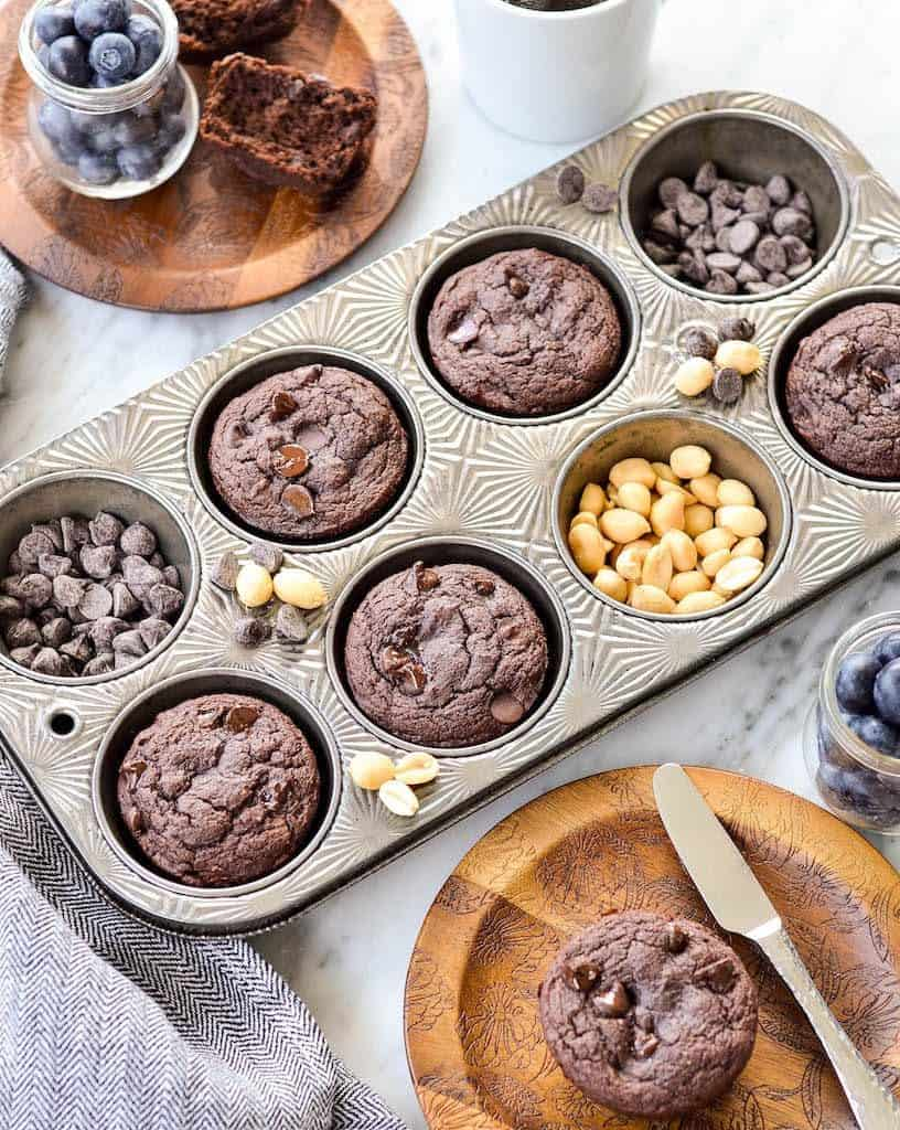 Overhead view of Peanut Butter Chocolate Zucchini Muffins in a muffin tin