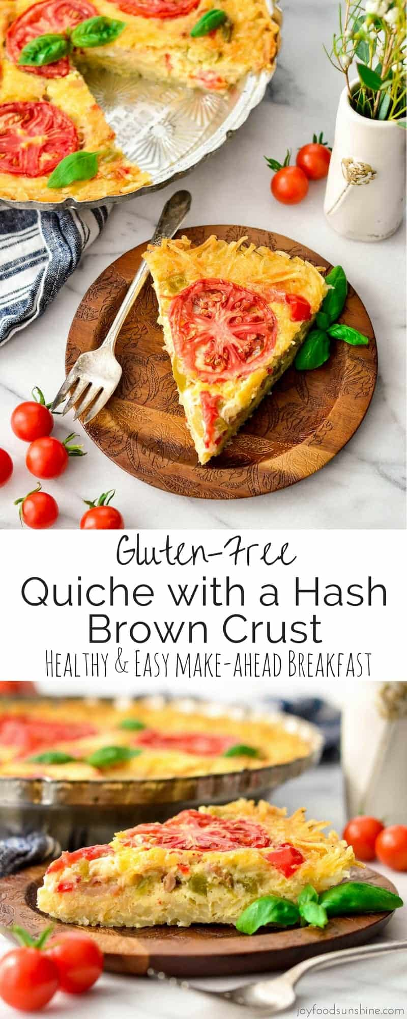 This Gluten-Free Quiche with a Hash Brown Crust is an easy, healthy & filling recipe! Eat it as a protein-packed breakfast or quick dinner! It's make-ahead, gluten-free and vegetarian friendly!